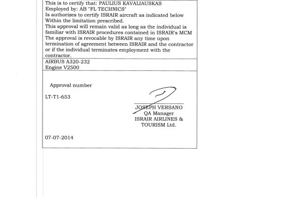 Israir Line maintenance VNO Approval Authorization-4